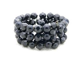 Vintage Silver Tone Black Faceted Crystal Glass Bead Beaded Bracelet - $29.70