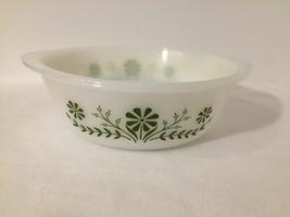 Vintage Glasbake 2 Quart Bowl Casserole Dish Jennette Green Daisy Flower... - $13.32