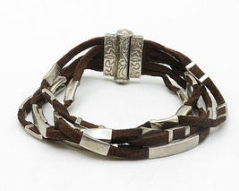 WHITNEY KELLY 925 Silver - Vintage Suede Engraved Detail Chain Bracelet - B4202 image 3