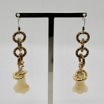 Drop Earrings Aluminum Laminated Yellow Gold with Jade Baby Bell Flower image 2