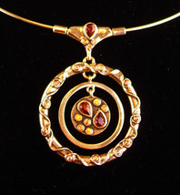 Vintage Signed Modernist necklace - gold hoop choker - HYPNOTIC rhinestone - $125.00