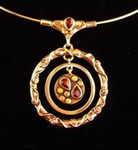 Vintage Signed Modernist necklace - gold hoop choker - HYPNOTIC rhinestone - $125.00