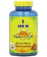 Nature's Life E, D-Alpha and Mixed Tocopherols 400 IU Softgels, 250 Count - $42.69