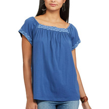 Women's Chaps Embroidered Square Neck Blue Knit Top Short Sleeve Sz M NWT - $19.99