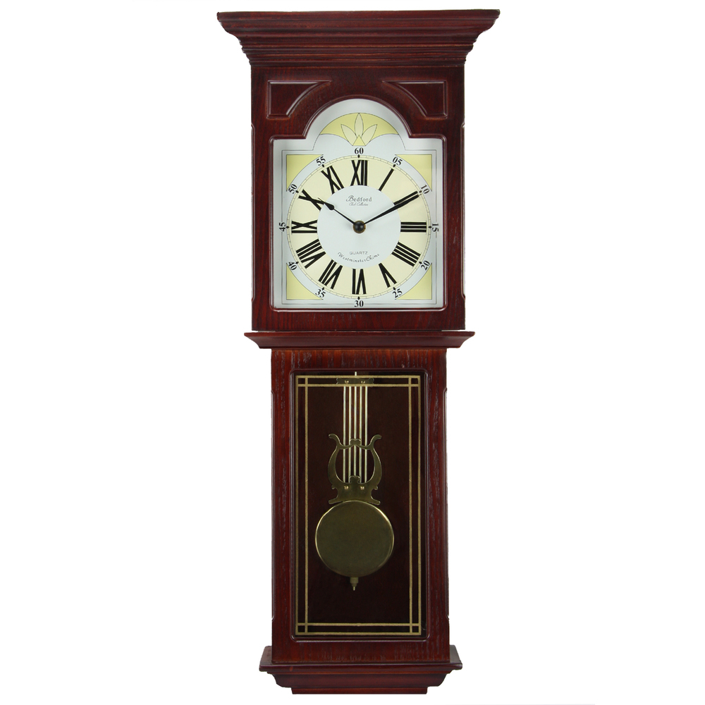 Primary image for Bedford Clock Collection Redwood 23 Inch Readwood Oak Finish Wall Clock