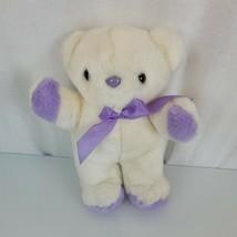 """Vintage Nanco Stuffed Plush Teddy Bear White Purple 11"""" Satin Ribbon Bow - $69.29"""