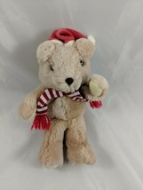 "Russ Tan Bear Plush Santa Hat Scarf 6.5"" Stuffed Animal toy Christmas - $8.95"