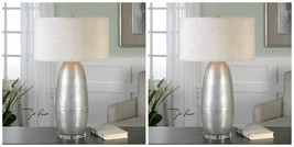 TWO NEW BURNISHED SILVER HAMMERED METAL TABLE LAMP LINEN SHADE CRYSTAL FOOT - €492,11 EUR