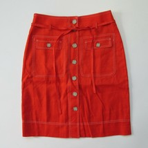 NWT J.Crew Button-up Skirt Removable Belt in Brilliant Sunset Stretch Li... - $44.00