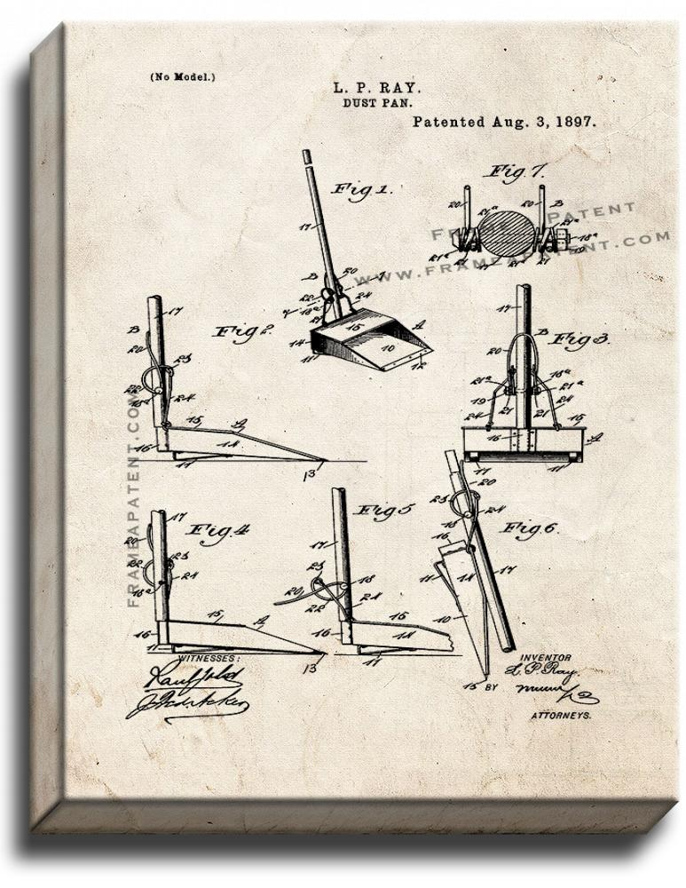 Primary image for Dust Pan Patent Print Old Look on Canvas