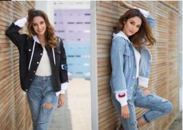 FRDUN TOMMY women denim jacket for girls Bomber Jacket High Quality - $40.23