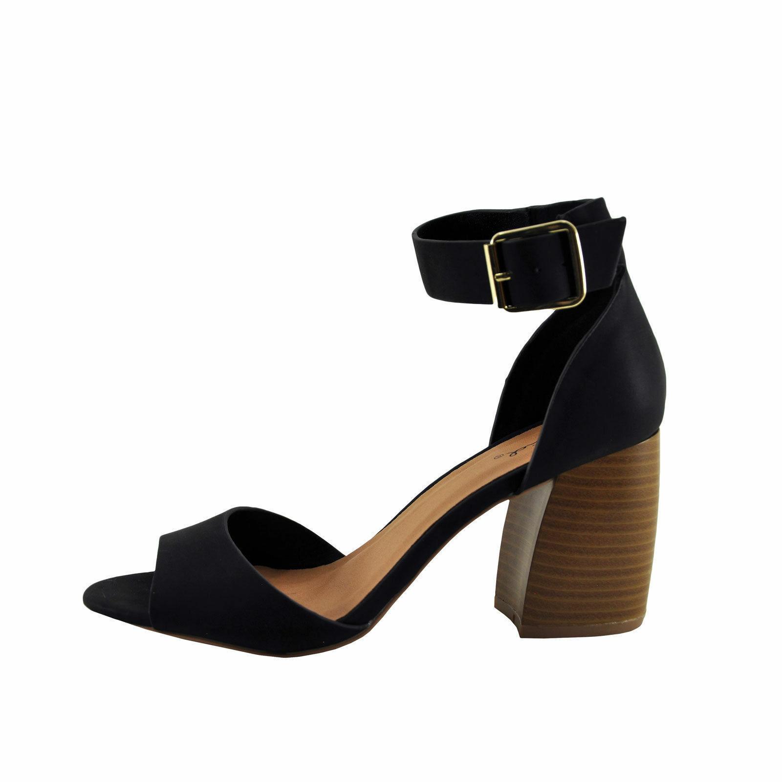 Qupid Beau08 Black Women's Open Toe Ankle Strap Block Heel - $31.95