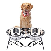 VIVIKO Pet Feeder for Dog Cat, Stainless Steel Food and Water Bowls with... - $39.86