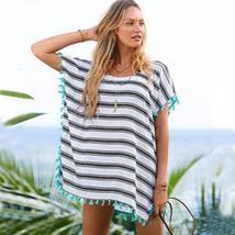 Summer Stripe Fringe Tunic Women Beach Cover Up - $20.70