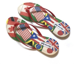 American Eagle Womens Flip Flop Sandals Size Size 12 World Flags Thong F... - $18.58