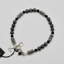 Silver Bracelet 925 with Onyx and Hematite BLE-1 Made in Italy by Maschia image 2