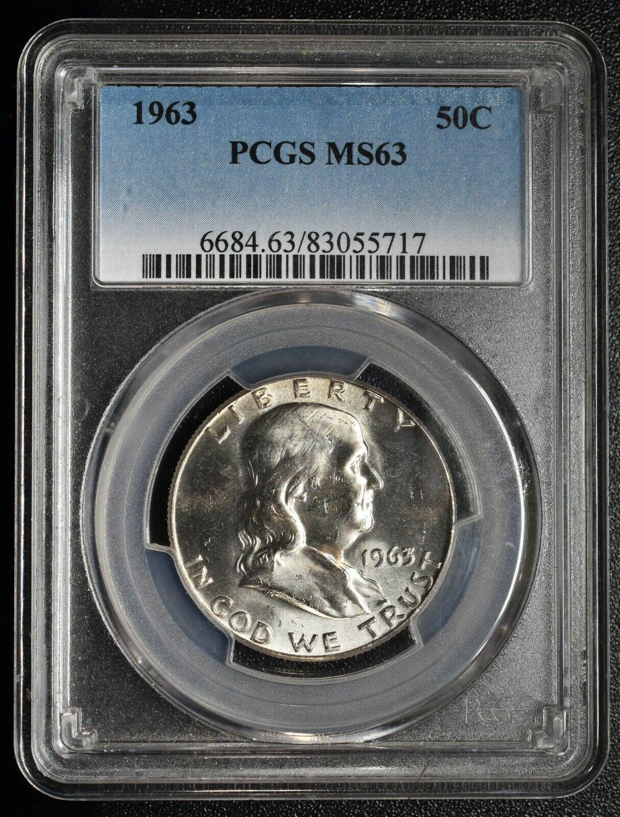 1963 NGC MS63 Benjamin Franklin Silver Half Dollar Coin Lot A 635