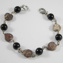 Bracelet in Sterling Silver 925 Rhodium with Onyx and Jasper Brown Cut Heart - $65.69
