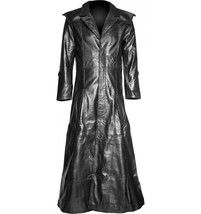 Gothic Leather Halloween Men Leather Coat Winter Genuine Real Leather Coat