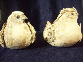 Pair DOVE Bird Figures Handcrafted Birch Bark RUSTIC Figurines Wood OOAK... - $29.69