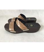 Fendi Brown, Tan Patent Leather Snakeskin wooden Clogs, Wedge Sandals. 3... - $153.45