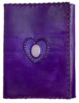 Handmade Leather Cover  Diary/Journal  1 stone Purple Color  with lock f... - $30.99