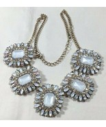 Charter Club Fashion Statement Necklace White & Aurora Borealis Rhinesto... - $37.62