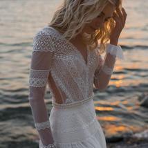 V Neck Long Sleeves Lace Appliques A Line Bridal Gowns Plus Size image 3