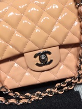 AUTHENTIC Chanel Pink Quilted Patent Leather Medium Double Flap Bag SHW image 4