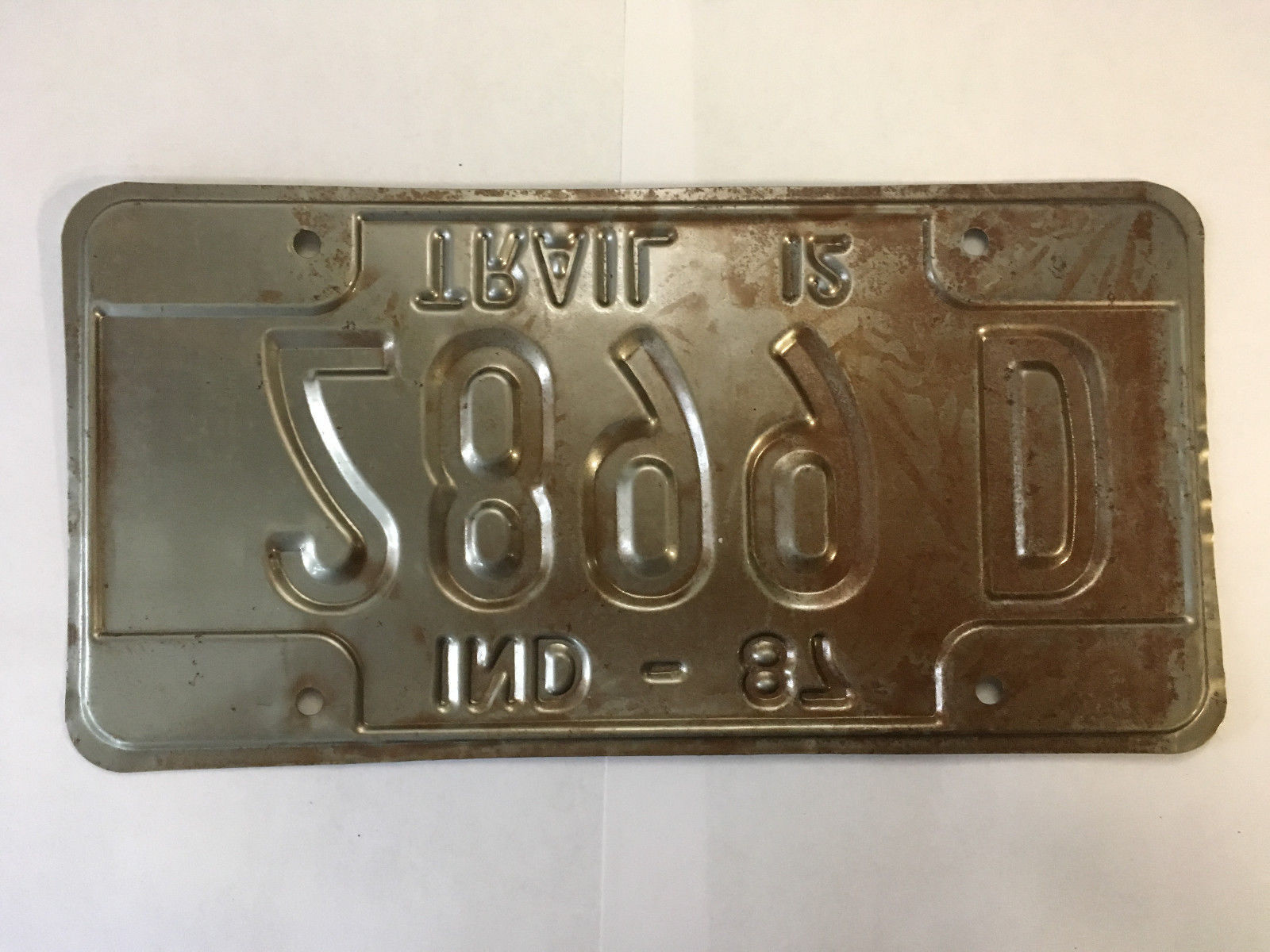 Vintage Indiana Trailer Metal License Plate 1987 2899D White Black image 6