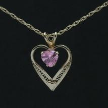 Vtg Princess Pride Creations Child's Gold-Filled Pink CZ Heart Pendant N... - $7.99