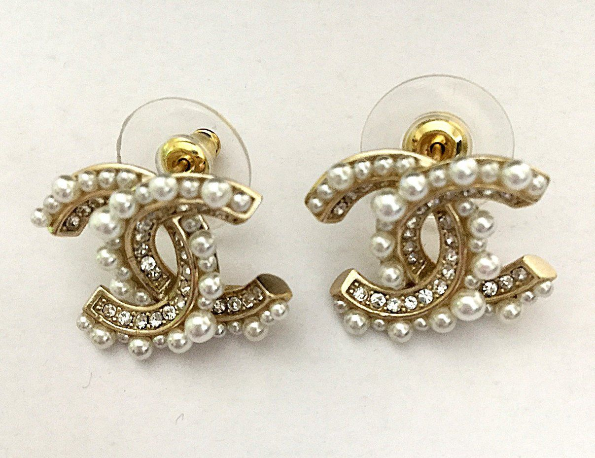 SALE Authentic CHANEL Crystal CC Logo Pearl Stud Earrings Gold