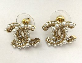 SALE*** Authentic CHANEL Crystal CC Logo Pearl Stud Earrings Gold