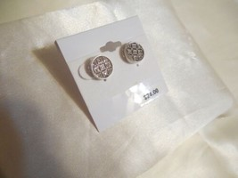 """Department Store Silver Tone 1/2"""" Crystal Round Filigree Stud Earrings F394 - $10.01"""