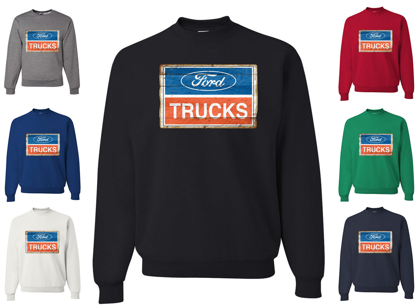 Primary image for Ford Trucks Old Sign Licensed Sweatshirt American Classic Built Tough 50 Years