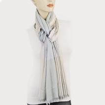 New STYLE&CO Soft Lurex Colorblock Scarf Womens Metallic Wrap Beige Gray - €7,16 EUR