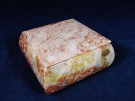 ONYX MARBLE STONE Merry Christmas Square Dresser Jewelry Trinket Box Han... - $29.69