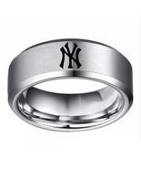 New York Yankees MLB Baseball Team Logo Tungsten Carbide Silver Ring D1 - $32.99