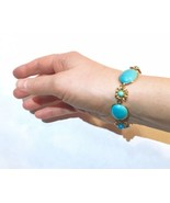 VERY big cabs Arts&Crafts turquoise Victorian Persian turquoise clasp bracelet - $3,439.00