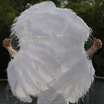 A Pair of Single Layer White Large Ostrich Feather Fan Burlesque friend ... - $138.99