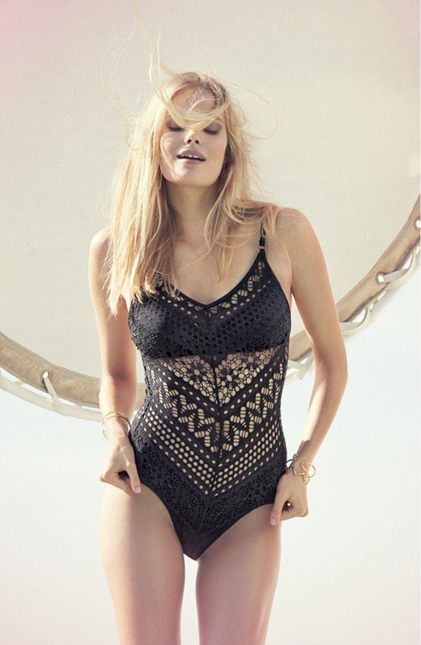 Robin Piccone Mia Crochet One-Piece Swimsuit Black Size 10