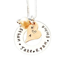 Personalized Jewelry , Hand Stamped Mommy Jewelry , Washer Disc with Cop... - $58.26