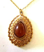 """Vintage Gold Tone SARAH COVENTRY  Amber Color stone PENDANT on 18"""" Chain... - $23.99"""
