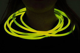 "50 22"" Premium Jumbo Yellow Glow Stick Necklaces Preattached Connectors - $23.95"