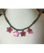 Necklace with Pink Star Cats Eye Pendants Rainbow Hematite Beads Natural... - $27.71