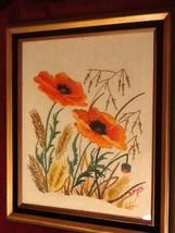 Glass Framed Vintage Crewel CALIFORNIA Orange POPPIES - $34.91