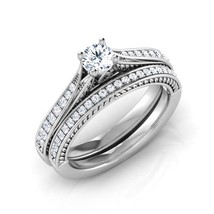 White CZ Dia. 14k White Gold Fn Wedding Solitaire With Accents Bridal Ring Set - $136.99
