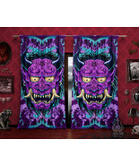 Pastel Goth Oni Curtains, Goth Neon Japanese Demon Window Drapes, Sheer And Blac - $164.00 - $182.00