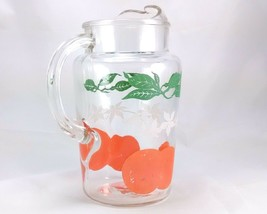Orange Juice Pressed Glass 1 Quart Vintage 1960s Pitcher w/ Fruit & Leaves - $16.95
