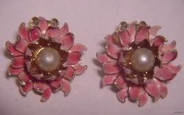 Pretty!!! Pink Enamel w/ Pearl Center CORO NEW on the Card! - $19.95